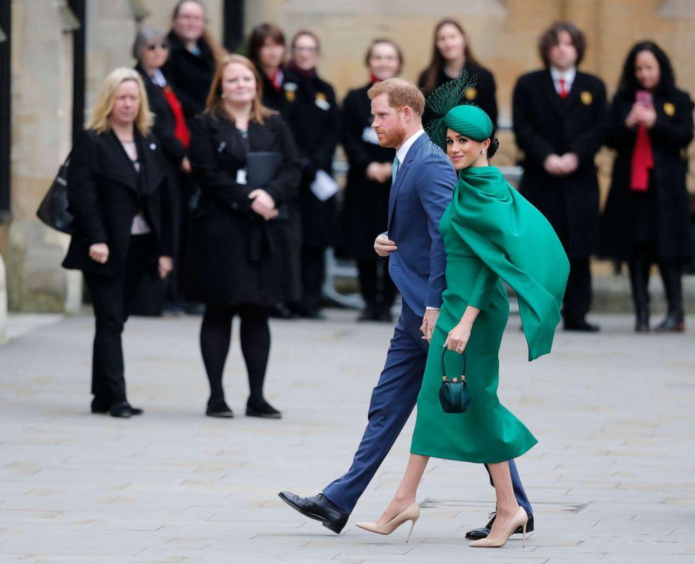 ФОТО: Британский принц Гарри и Меган, герцогиня Сассексская, прибывают для участия в ежегодной службе Дня Содружества в Вестминстерском аббатстве в Лондоне, 9 марта 2020 года.
