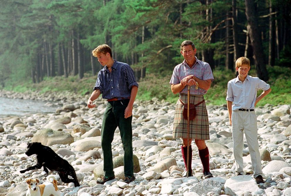 PHOTO: Prince William, Prince Charles and Prince Harry at Polvier, by The River Dee, Balmoral Castle Estate, Aug. 10, 1997.