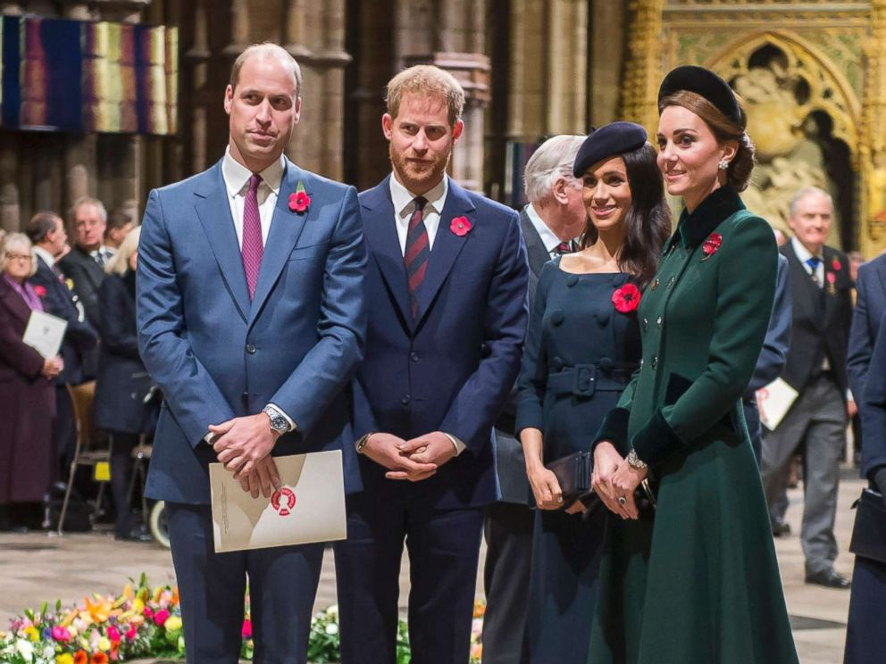 PHOTO: From left, Britains Prince William, Prince Harry, Meghan, Duchess of Sussex and Catherine, Duchess of Cambridge arrive at Westminster Abbey to attend a service to mark the centenary of the Armistice in central London on Nov. 11, 2018.