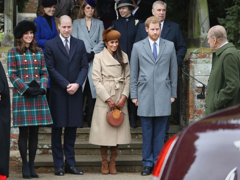 PHOTO: From left, Catherine, Duchess of Cambridge, Prince William, Meghan Markle, Prince Harry, and Prince Philip attend Christmas Day Church service at Church of St Mary Magdalene on Dec. 25, 2017 in Kings Lynn, England.
