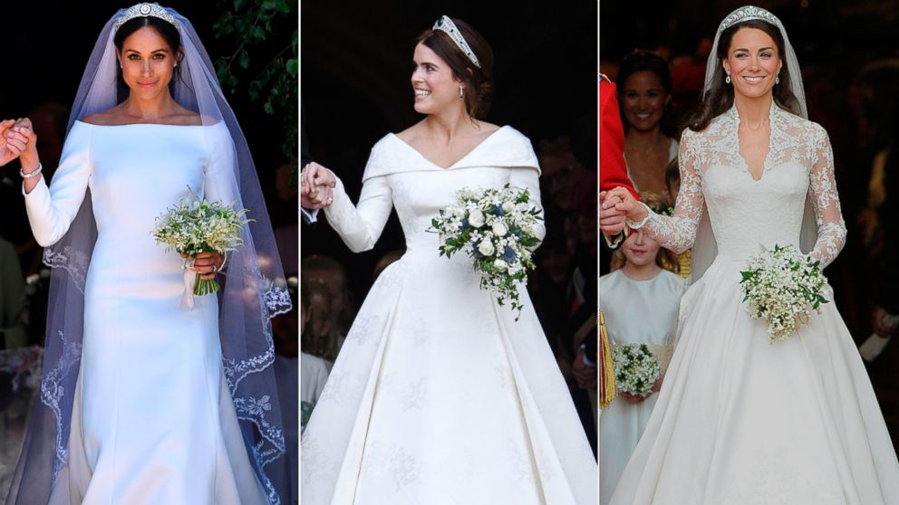 Princess Eugenie Wedding.Princess Eugenie Duchess Meghan And Princess Kate S Wedding Dresses