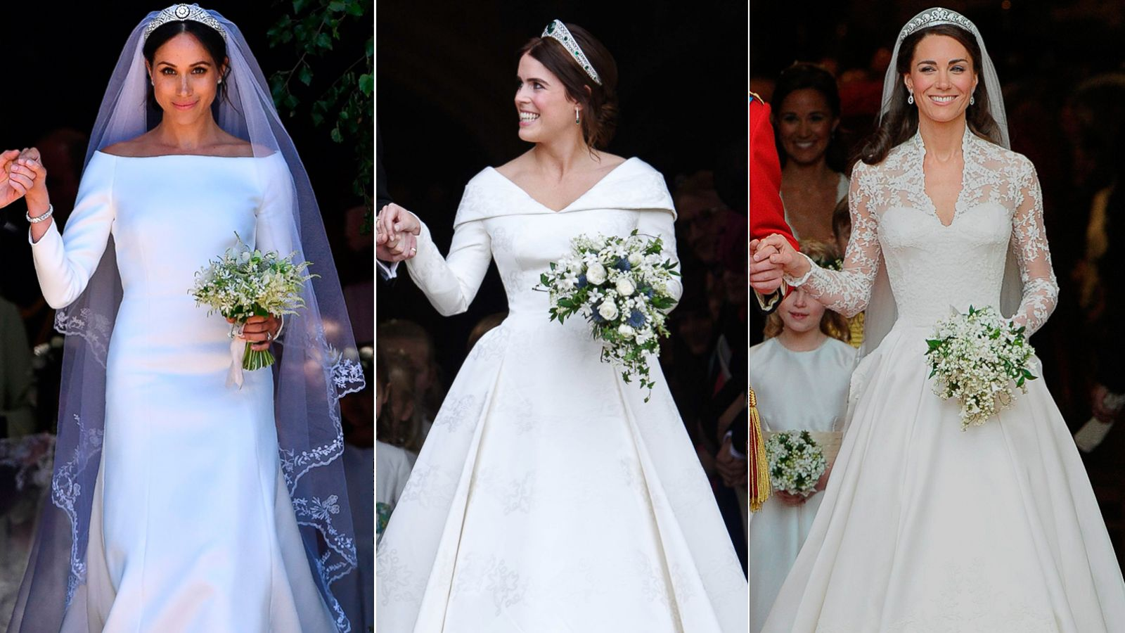 princess eugenie duchess meghan and princess kate s wedding dresses all shared a special similarity gma princess eugenie duchess meghan and