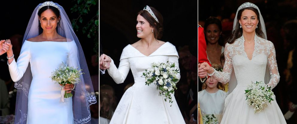 PHOTO: Pictured (L-R) are Meghan Markle, Duchess of Sussex on May 19, 2018, Catherine, Duchess of Cambridge on April 29, 2011 and Princess Eugenie on Oct. 12, 2018.