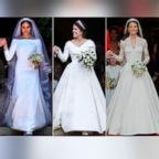 Pictured (L-R) are Meghan Markle, Duchess of Sussex on May 19, 2018, Catherine, Duchess of Cambridge on April 29, 2011 and Princess Eugenie on Oct. 12, 2018.