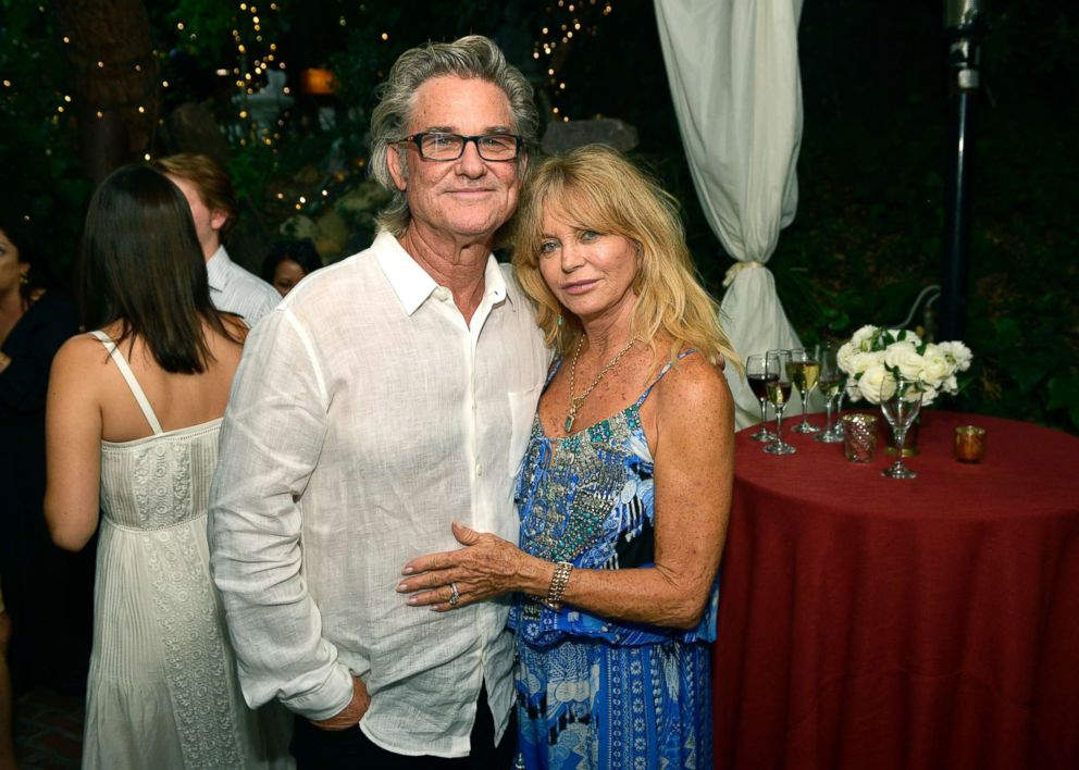 """Kurt Russell and Goldie Hawn attend the """"Wild Wild Country"""" filmmaker toast at Inn of the Seventh Ray, Aug. 4, 2018, in Topanga, Calif."""