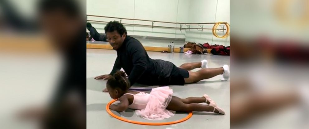 PHOTO: Russell Wilson and daughter do ballet in a video he posted to his Instagram account.