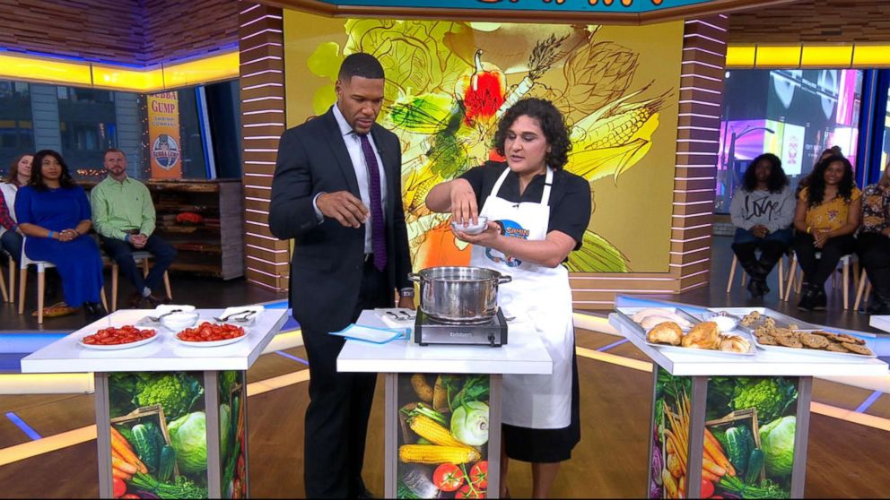 PHOTO: Chef Samin Nosrat demonstrates how to properly use salt while cooking.