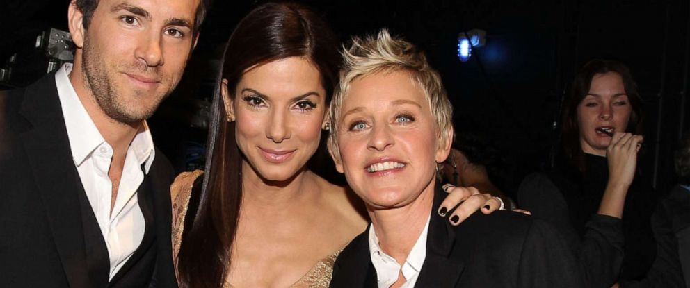 PHOTO: Sandra Bullock and Ellen DeGeneres pose backstage during the Peoples Choice Awards 2010 held at Nokia Theatre L.A. Live on Jan. 6, 2010 in Los Angeles.