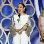 """Sandra Oh accepts the award for best actress in a drama series for her role in """"Killing Eve"""" during the 76th Annual Golden Globe Awards at the Beverly Hilton hotel, Jan. 6, 2019 in Beverly Hills, Calif."""