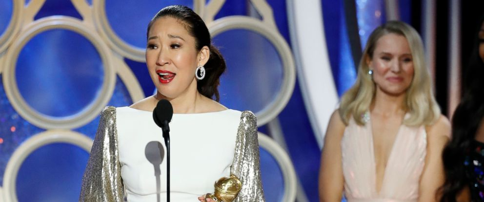 "PHOTO: Sandra Oh accepts the award for best actress in a drama series for her role in ""Killing Eve"" during the 76th Annual Golden Globe Awards at the Beverly Hilton hotel, Jan. 6, 2019 in Beverly Hills, Calif."