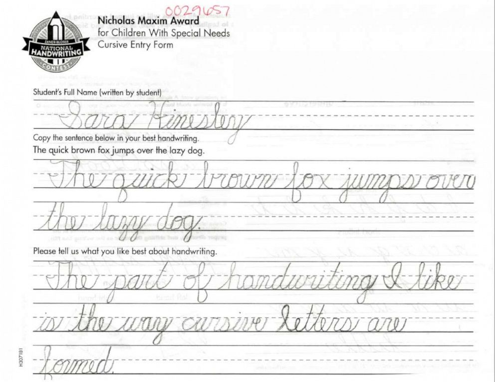 PHOTO: Sara Hinesleys entry form for the Nicholas Maxim Award in the 2019 Zaner-Bloser National Handwriting Contest is pictured here.
