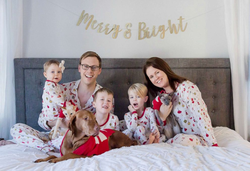 PHOTO: Sarah Buckley Friedberg of Needham, Mass., is photographed on Christmas with her husband, Michael Friedberg and their children, Liam, 6, Caden, 3 and Harper, 1.