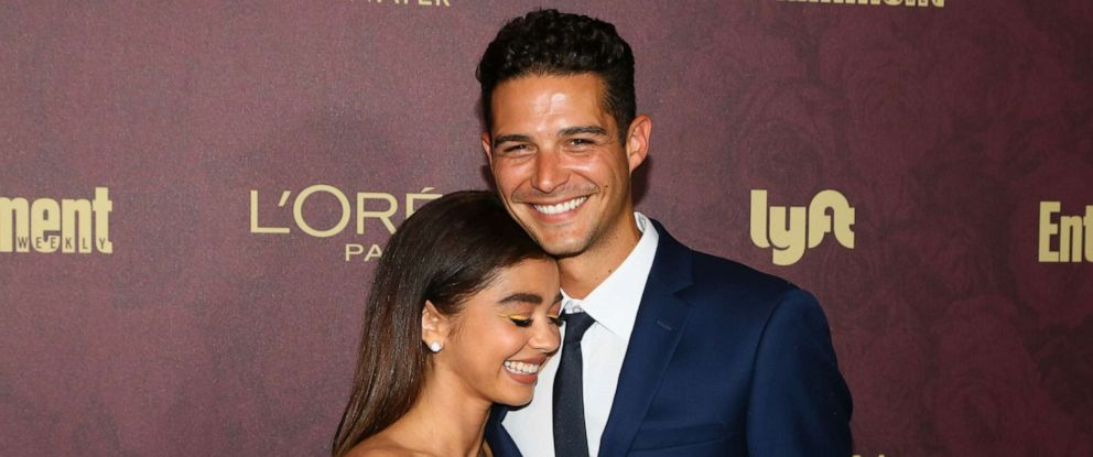 PHOTO: Sarah Hyland and Wells Adams arrive to the 2018 Entertainment Weekly Pre-Emmy Party at Sunset Tower Hotel, Sept. 15, 2018, in West Hollywood, Calif.
