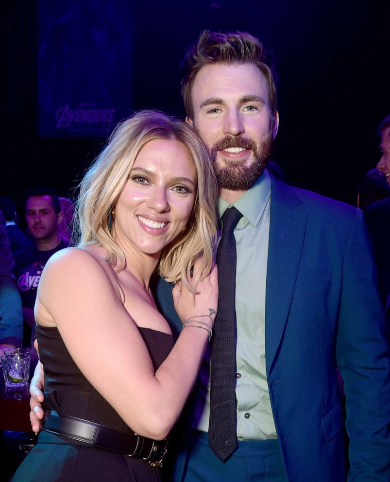 PHOTO:Scarlett Johansson and Chris Evans attend the Los Angeles World Premiere of Marvel Studios Avengers: Endgame at the Los Angeles Convention Center, April 23, 2019, in Los Angeles.