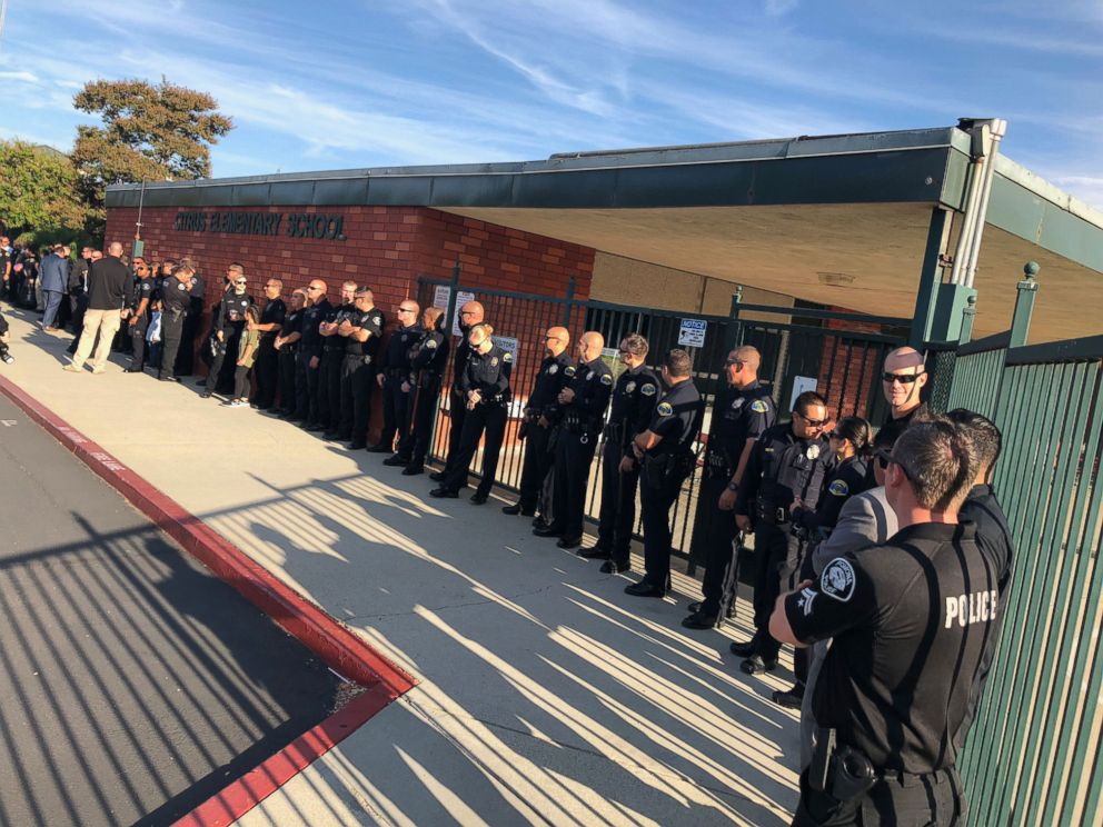 PHOTO: Gregg Casillas, 4, son of Officer Greggory Casillas, received a warm welcome on the way to school by his fathers colleagues.