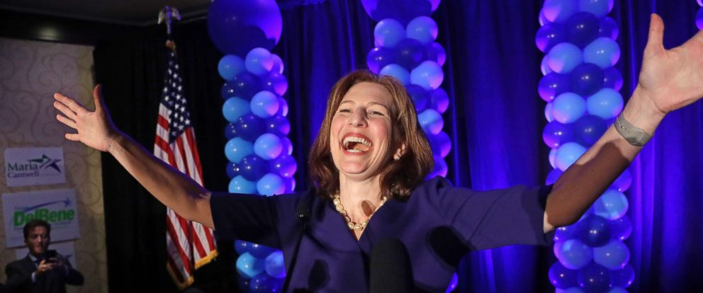 PHOTO: Congressional candidate Kim Schrier addresses the crowd at an election night party for Democrats, Nov. 6, 2018, in Bellevue, Wash.