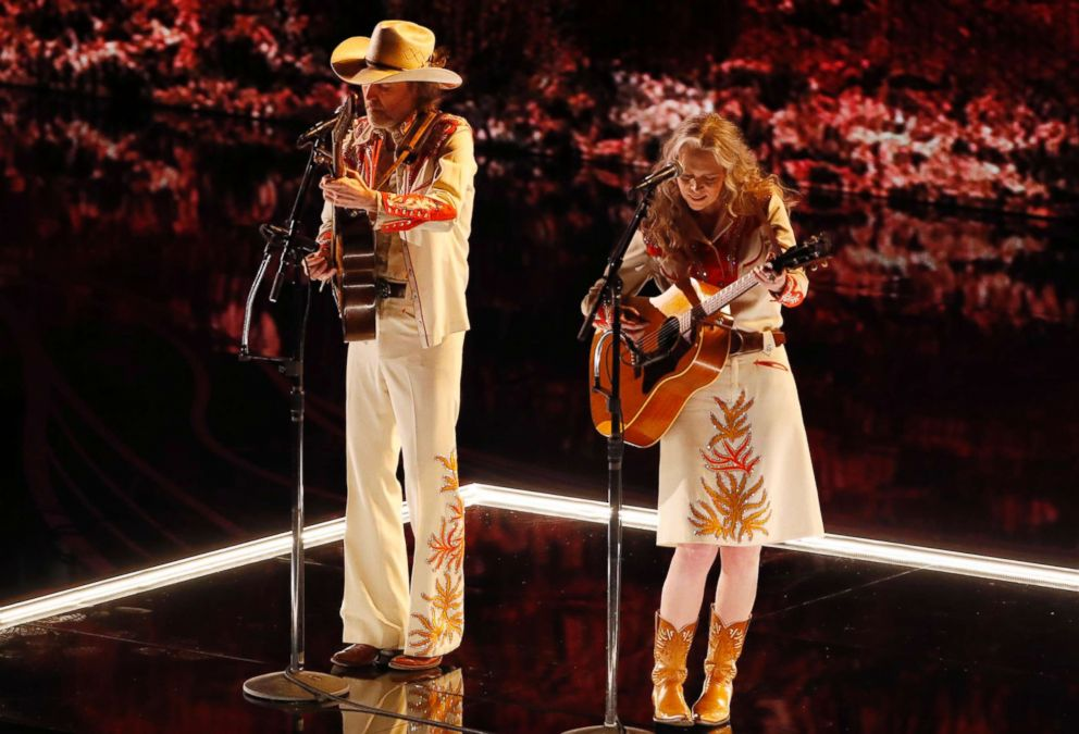 PHOTO: Gillian Welch and David Rawlings sing When A Cowboy Trades His Spurs for Wings from film, The Ballard of Buster Scruggs, Feb. 24, 2019 during the Oscars at the Dolby Theatre in Los Angeles.