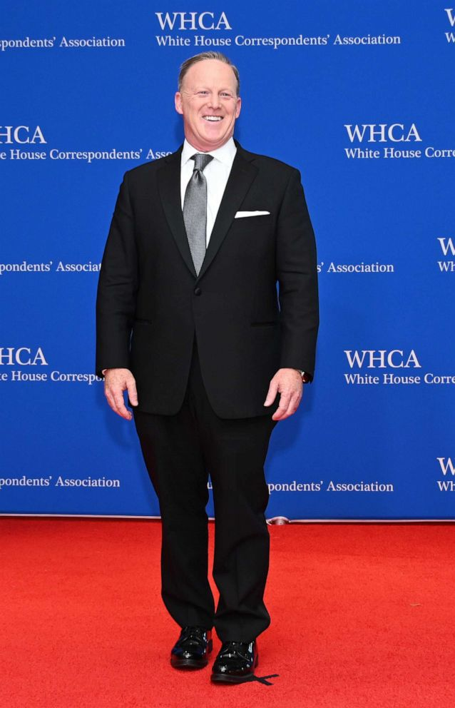 PHOTO: Former White House Press Secretary Sean Spicer arrives on the red carpet for the White House Correspondents Dinner in Washington, DC on April 27, 2019.