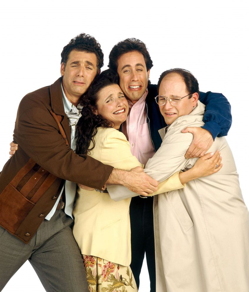 PHOTO: The cast of Seinfield. From left, Michael Richards as Cosmo Kramer, Julia Louis-Dreyfus as Elaine Benes, Jerry Seinfeld as Jerry Seinfeld, Jason Alexander as George Costanza.