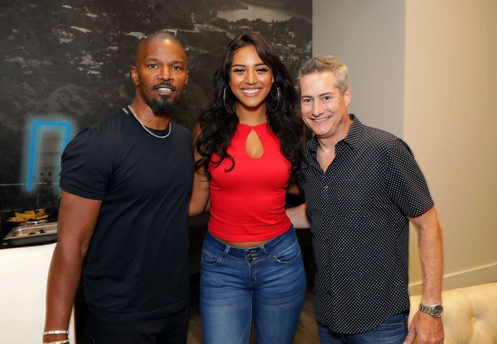 PHOTO: Jamie Foxx, Sela Vave and Adam Selkowitz attend Michael B. Jordans MBJAM at Dave & Busters Hollywood on July 27, 2019 in Hollywood, California.