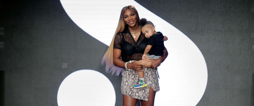 PHOTO: Serena Williams holds her daughter Alexis Olympia Ohanian Jr. after showing her clothing line during New Yorks Fashion Week, Sept. 10, 2019, in New York City.