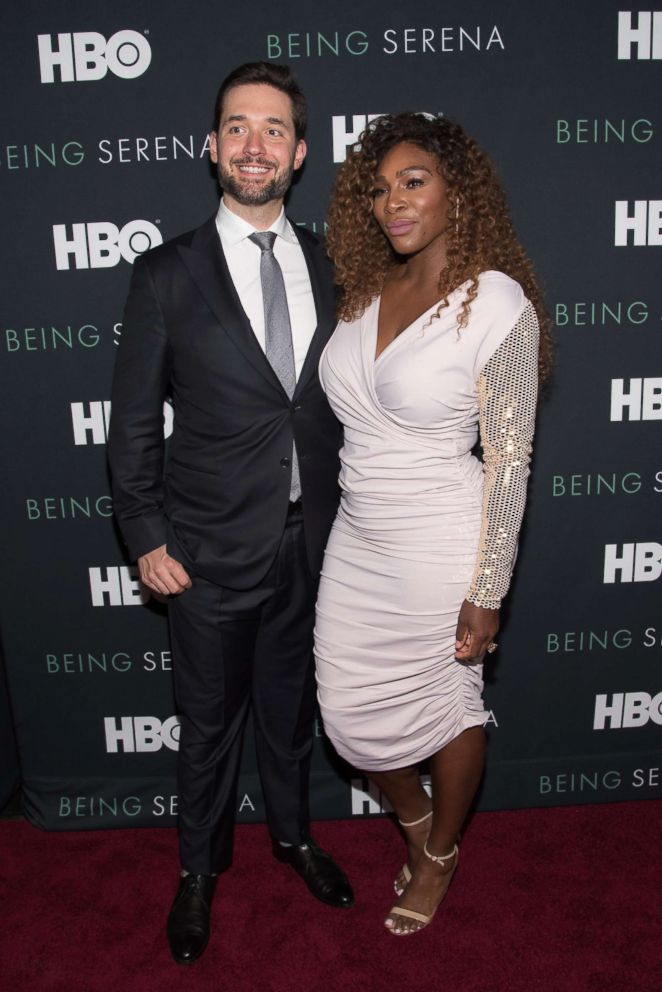 PHOTO: Serena Williams and husband Alexis Ohanian attend the Being Serena New York Premiere at Time Warner Center on April 25, 2018 in New York.