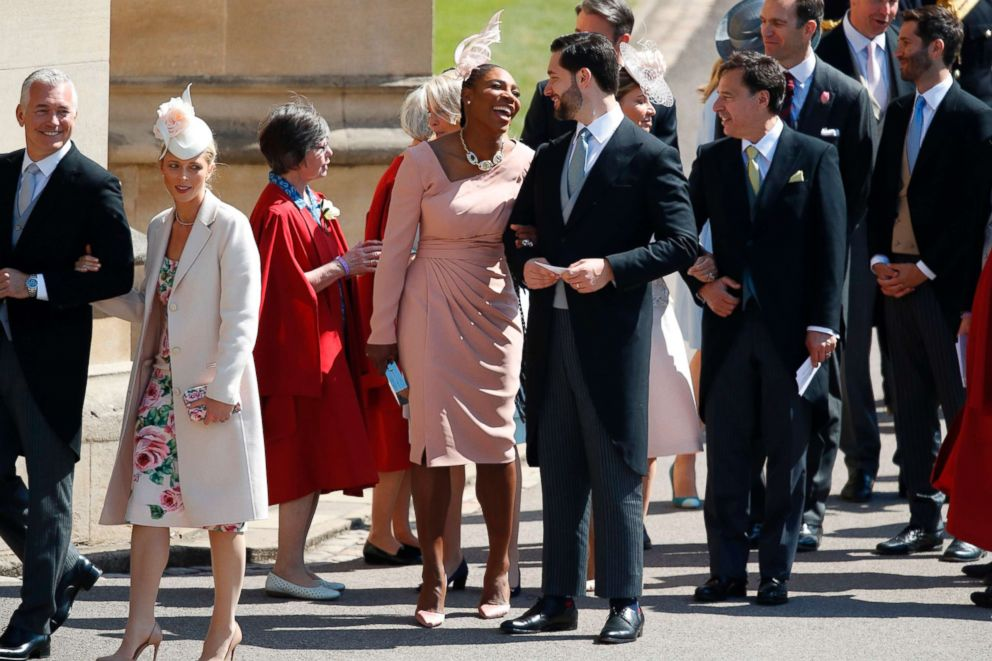 PHOTO: Serena Williams and her husband Alexis Ohanian arrive for the wedding ceremony of Britains Prince Harry, Duke of Sussex and Meghan Markle at St Georges Chapel, Windsor Castle, in Windsor, on May 19, 2018.