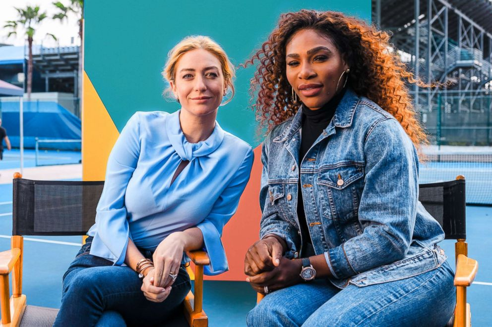 PHOTO: Serena Williams and Whitney Wolfe Herd, founder and CEO of Bumble, on the set of Bumbles Super Bowl ad.