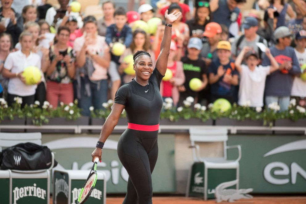 PHOTO: Serena Williams of the U.S. celebrates her win against Julia Goerges of Germany on Court Suzanne Lenglen in the Womens Singles Competition at the 2018 French Open Tennis Tournament at Roland Garros, June 2nd 2018, in Paris.