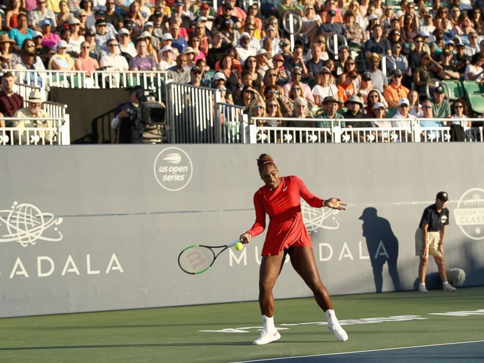 PHOTO: Serena Williams of the U.S. returns a shot to Johanna Konta of Great Britain during Day 2 of the Mubadala Silicon Valley Classic at Spartan Tennis Complex, July 31, 2018, in San Jose, Calif.