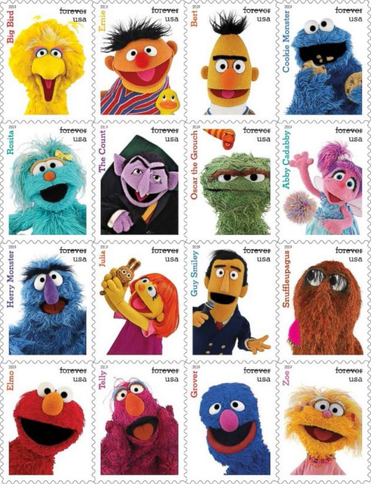 """Classic characters from the """"Sesame Street"""" television show are among the new 2019 stamp designs announced by the USPS on March 12, 2019."""