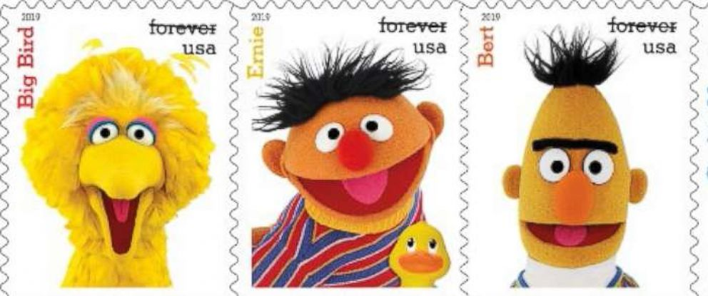 """PHOTO: Classic characters from the """"Sesame Street"""" television show are among the new 2019 stamp designs announced by the USPS on March 12, 2019."""