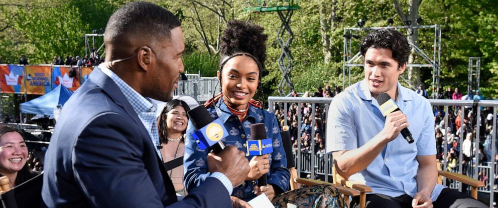 "PHOTO: Yara Shahidi and Charles Melton discuss their new movie ""The Sun Is Also a Star"" with Michael Strahan."