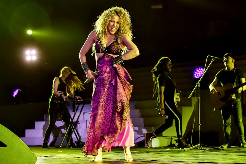 PHOTO: Colombian singer Shakira performs during the opening ceremony of the 2018 Central American and Caribbean Games (CAC), at the Metrpolitano stadium in Barranquilla, Colombia, July 19, 2018.