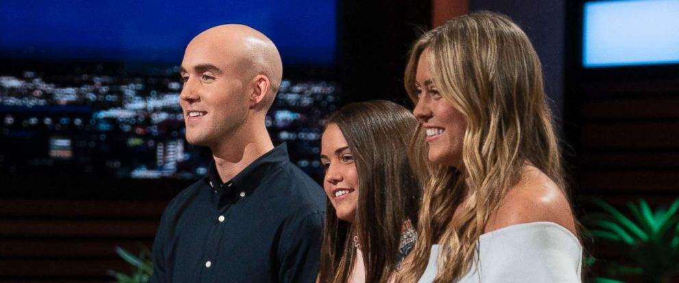 "PHOTO: Christian, Keira and Kaley Young of Long Island, N.Y., present a product developed by their late father on ""Shark Tank,"" Oct. 21, 2018."
