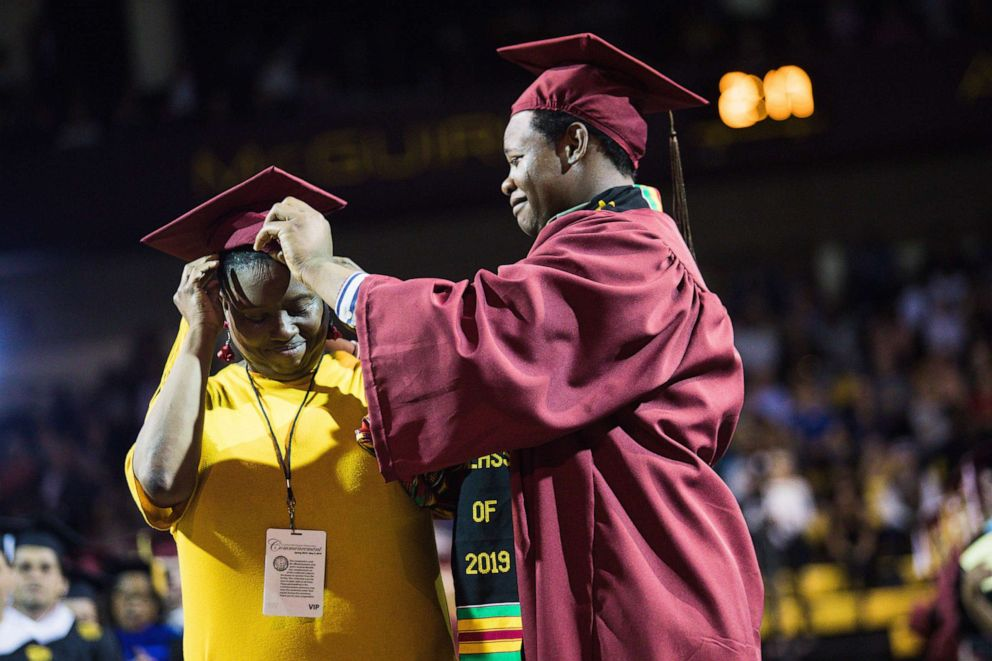 PHOTO: Sharonda Wilson was surprised with her diploma at the college graduation of her son, Stephan Wilson.