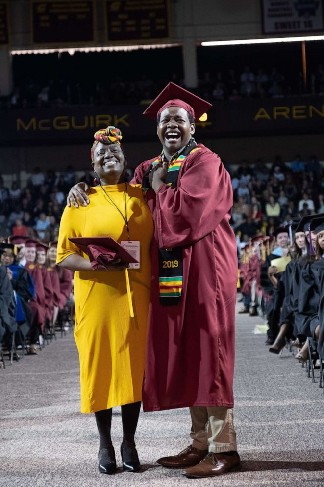 Image result for University confers mother and son with degrees after she skipped her graduation to attend his