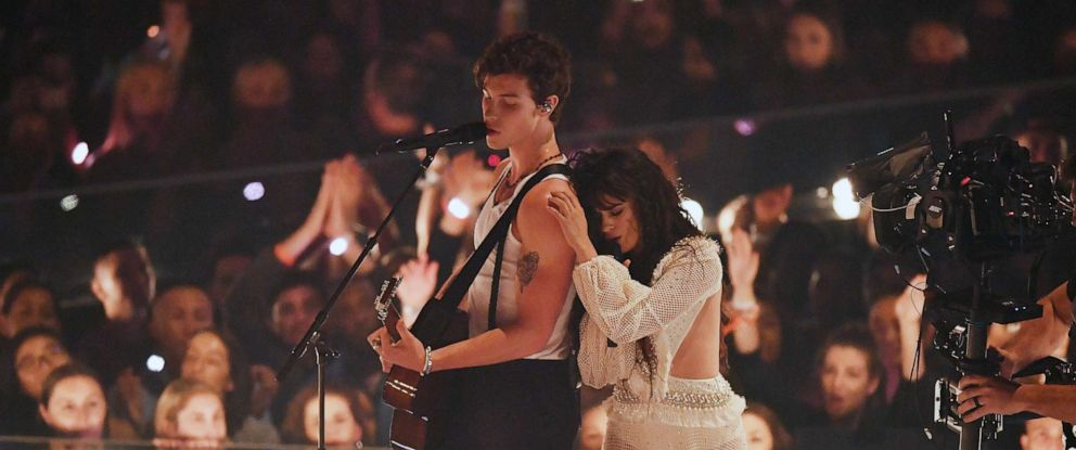 PHOTO: Shawn Mendes and Camila Cabello perform on stage during 2019 MTV Video Music Awards at the Prudential Center in Newark, N.J., Aug. 26, 2019.