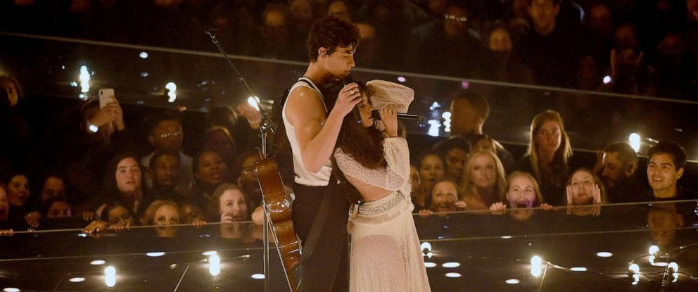 PHOTO:Shawn Mendes and Camila Cabello perform onstage during the 2019 MTV Video Music Awards at Prudential Center, Aug. 26, 2019 in Newark, N.J.