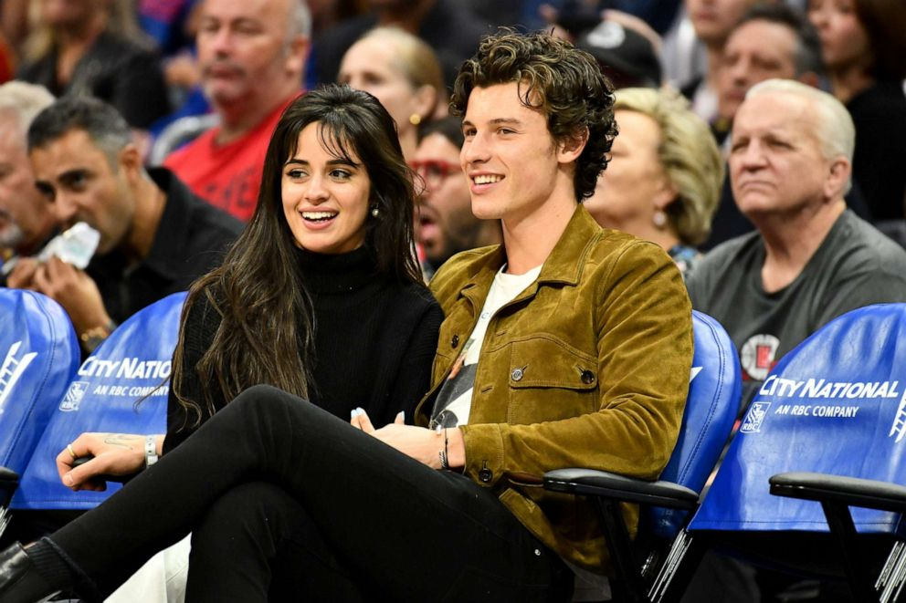 PHOTO: Camila Cabello and Shawn Mendes attend a basketball game between the Los Angeles Clippers and the Toronto Raptors at Staples Center in Los Angeles, Nov. 11, 2019.