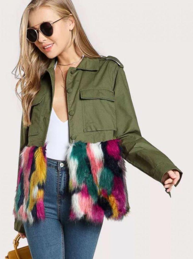 PHOTO: Colorful Faux Fur Trim Utility Jacket