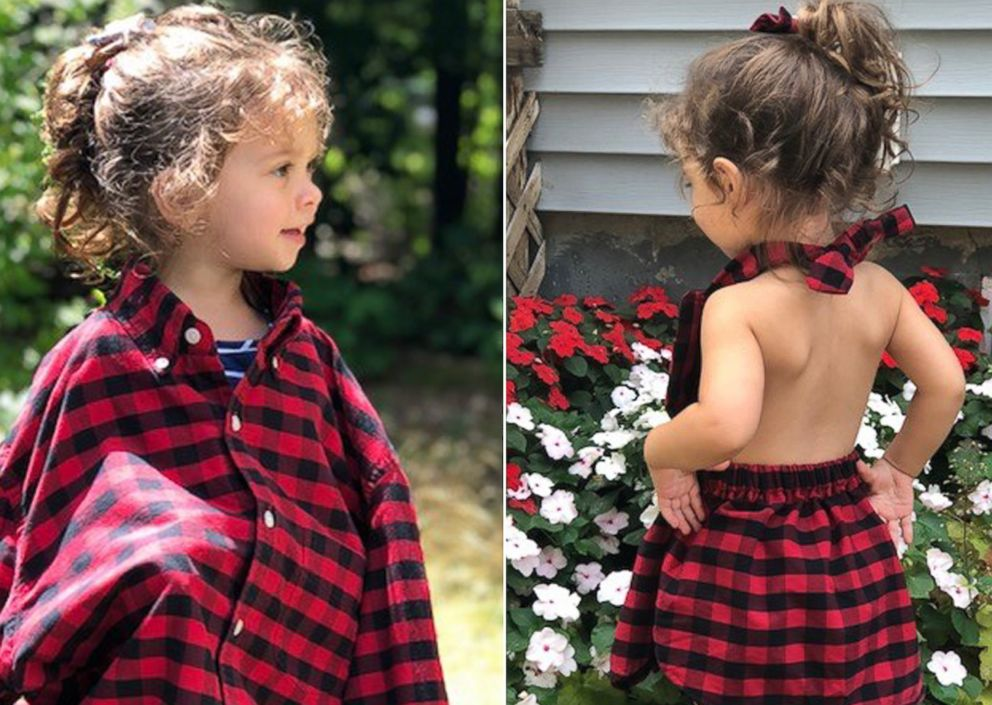 PHOTO: Carli Grant of New Hampshire, launched a new business to create kids clothing out of other garments that customers send her after she had made a dress for her daughter Amelia, 2, out of her husbands button-down shirt.