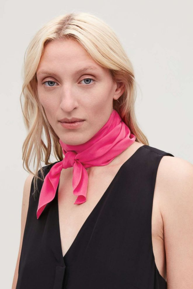 PHOTO: Style Hint: If youre on the fuchsia fence, sample the trend with this silk scarf. Wear it around your neck or feel free to use it as a belt with jeans for an unanticipated hit of color.