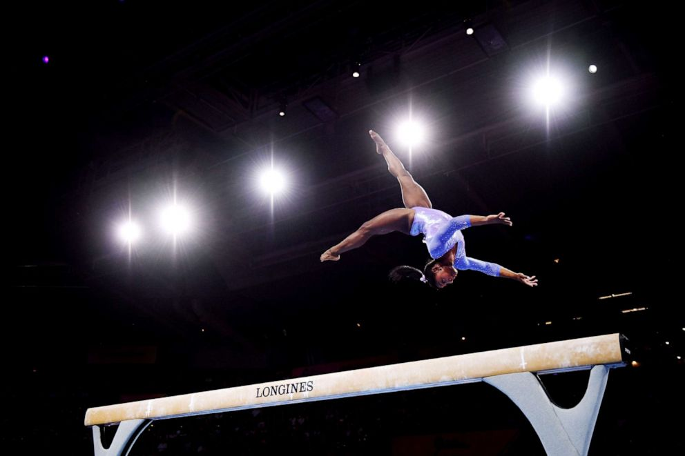 PHOTO: Simone Biles of The U.S. competes in Womens Balance beam Final during day 10 of the 49th FIG Artistic Gymnastics World Championships at Hanns-Martin-Schleyer-Halle on Oct. 13, 2019 in Stuttgart, Germany.
