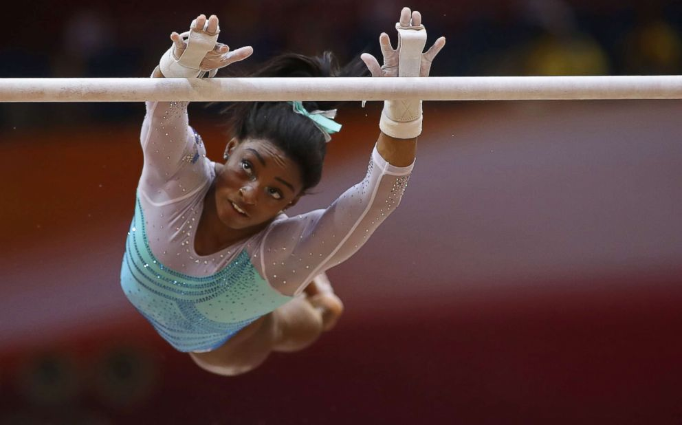 PHOTO: Simone Biles competes in the womens all-around final of the 2018 FIG Artistic Gymnastics Championships at the Aspire Dome, Nov. 1, 2018 in Doha, Qatar.