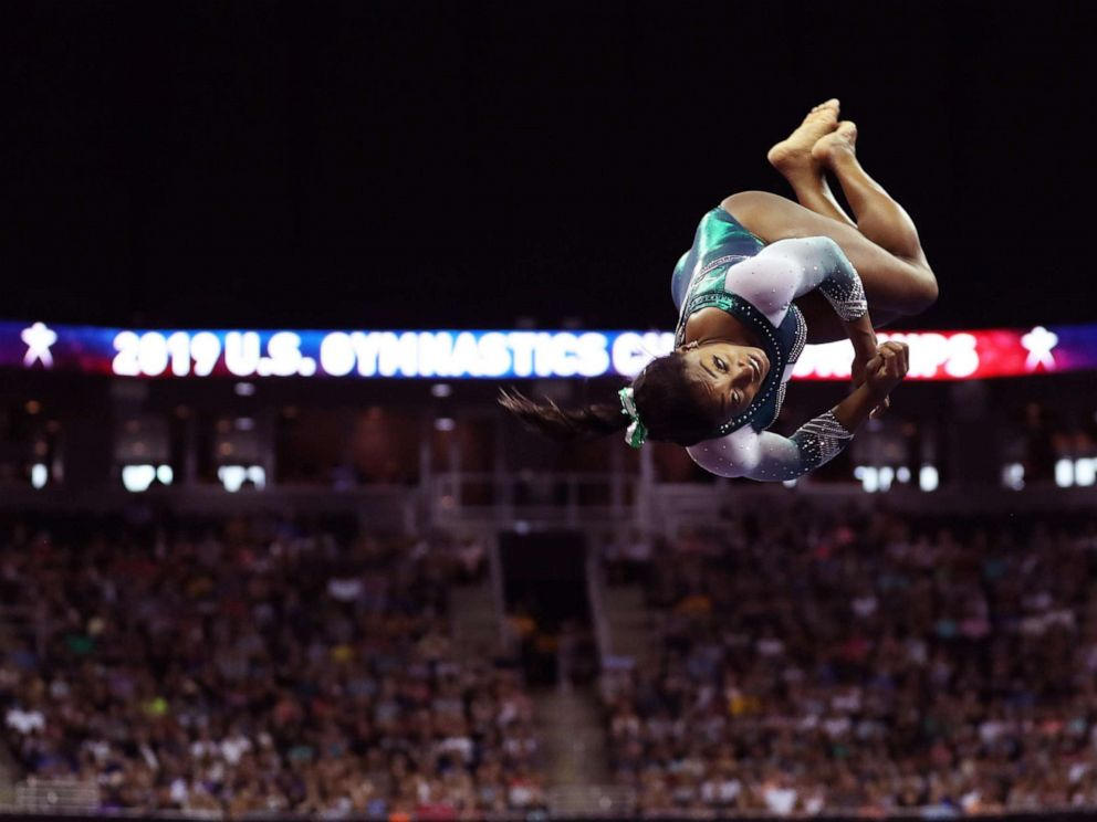 PHOTO: Gymnast Simone Biles competes during day one of the senior womens competition at the 2019 US Gymnastics Championships, held in Kansas City, MO., August 9, 2019.