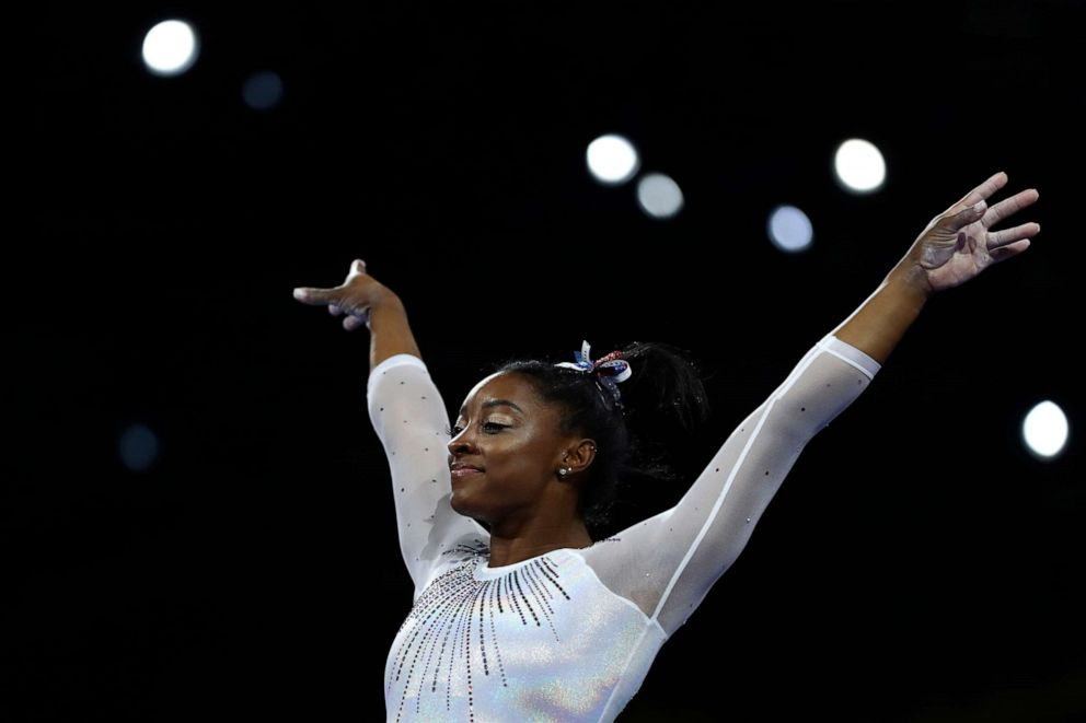 PHOTO: Simone Biles performs on the vault in the womens all-around final at the Gymnastics World Championships in Stuttgart, Germany, Oct. 10, 2019.