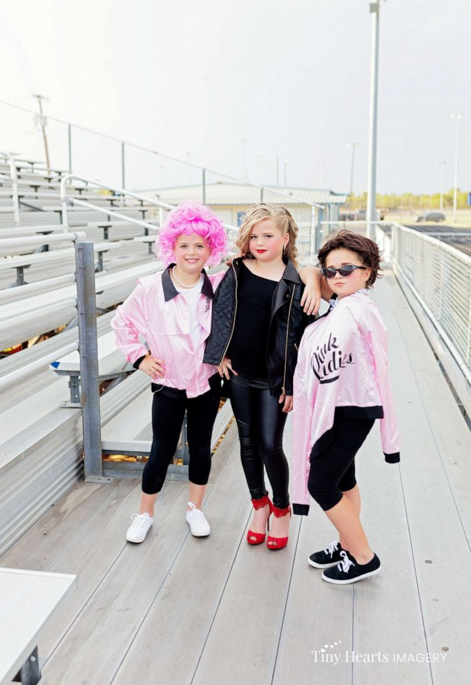 PHOTO: Landri Grabenstein, 7, and her sisters, twins Alli and Maddi Grabenstein, both 9, posed in a 50s-style photo shoot as they transformed into the women of the 1978 film, Grease.