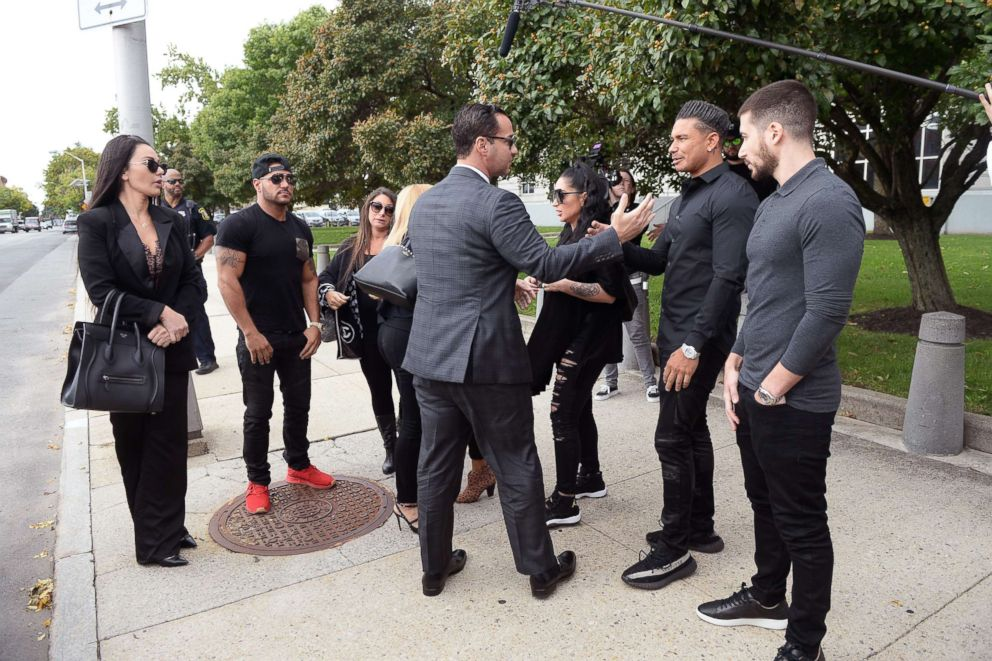 PHOTO: Jersey Shore Members from L-R JWoww, Ronnie, Dena, Snooki and Pauly D talk with Mike Sorrentino at federal court in Newark, N.J., were Sorrentino is to be sentenced for tax evasion, Oct. 5, 2018.