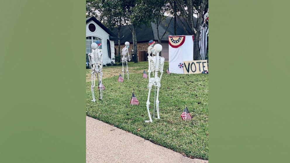 Creative homeowners change their Halloween skeleton display every day in October